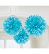 Ljusblå pompoms 3-pack