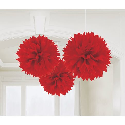 Röda pompoms 3-pack