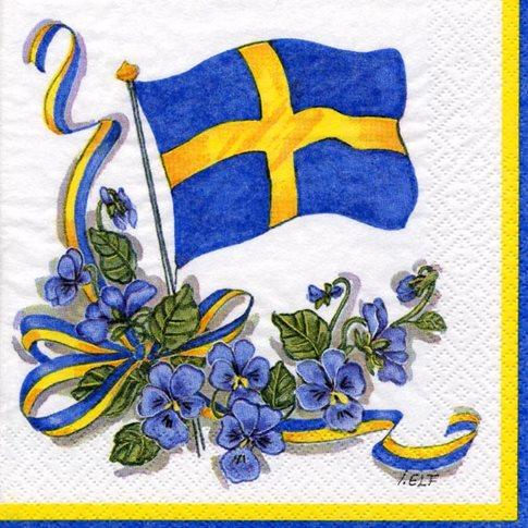 Sverigeflagga Med Blommor Servetter