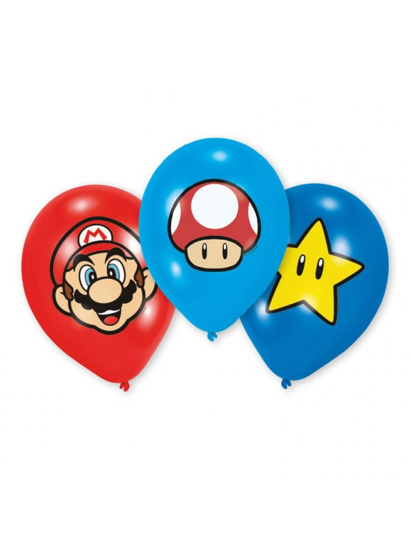 Super Mario 6-Pack Ballonger - Kalaskompaniet.se 16be3a2a1f6d2