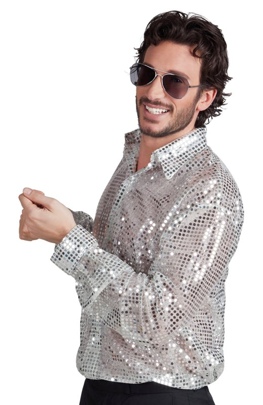 793f635facf3 Discoskjorta silver med paljetter - Kalaskompaniet.se