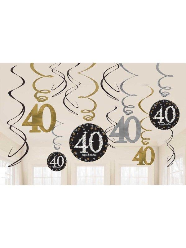 40 års fest 40 Års Spiraler Svart/Guld/Silver   Kalaskompaniet.se 40 års fest