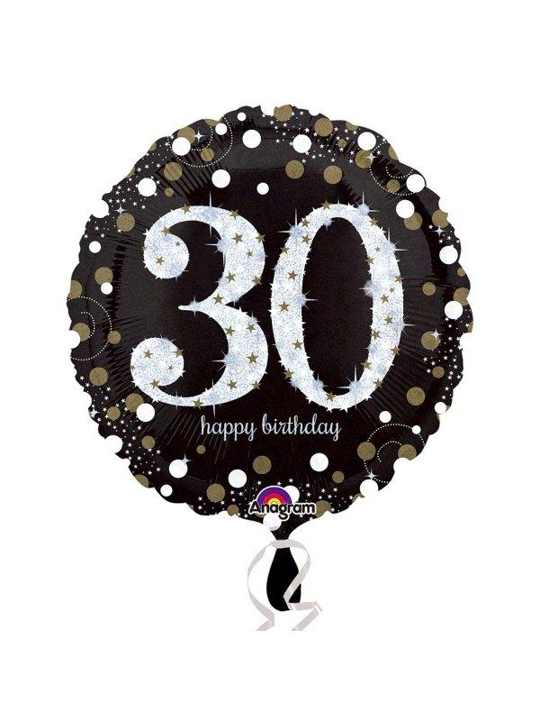 30 års ballonger Svart 30 års heliumballong   Kalaskompaniet.se 30 års ballonger